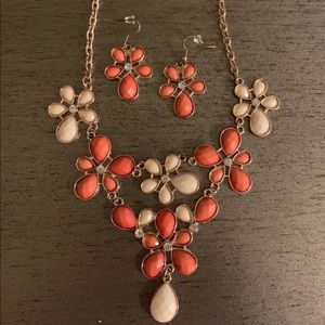 Floral orange necklace and earrings set